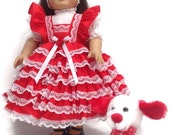 18 inch Designer Valentine Doll Dress Bundle with Puppy Dog Toy, Headband and Panties Limited