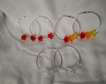 Silver Hoop Earrings with Acrylic Star Beads