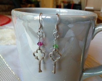 Key Dangle Earrings with Pink or Green Accent