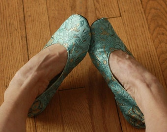 Your Size, Made to Order, Oval Toe Silk brocade slippers