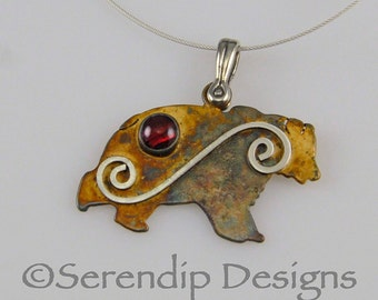 Sterling Silver Grizzly Bear Pendant, Patina Silver and Red Paua Shell Cabochon Bear Necklace, Silver Spiral Bear Pendant, Montana Grizzly