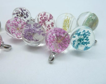4pcs Mixed  18mm Handmade Dried Flowers Glass Cabochon Pendant Charms With White K bail