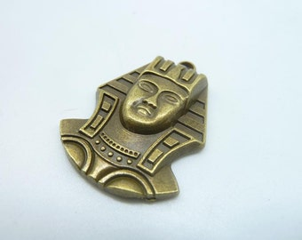 6pcs 27x37mm Antique Bronze Heavy Thick Egyptian Pharaoh Portrait Charm Pendant c1047