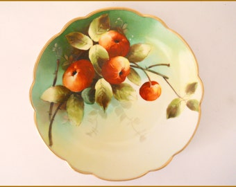 "Antique Bavarian Porcelain Plate Hand Painted DONATH STUDIO Fruit/Red Apples  8.25""  c. 1900 - SALE"