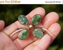 VALENTINE GIFT SALE 50's Jade Flower Gold Brooch