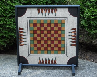 """19"""", Checkerboard, Carrom, Game Board, Primitive, Wood, Wooden, Game Boards, Folk Art, Hand Painted, Board Game, Checkers"""