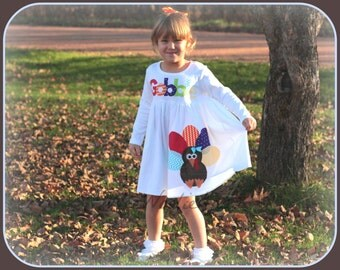 Thanksgiving Turkey Dress - Girls Personalized Funky Turkey