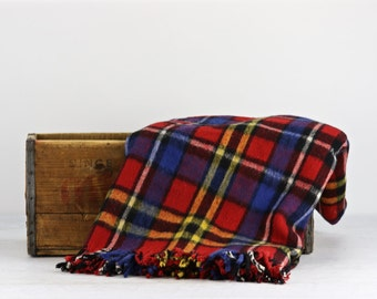 Vintage Wool Blanket, Plaid Wool Blanket, Tartan Wool Blanket, Wool Throw Plaid Stadium Blanket