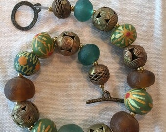 African Tribal glass beaded and brass ethnic necklace