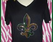 Fat Tuesday Mardi gras shirt Colorful Fleur di Lis Tank top or Tshirt NOLA Tshirt Cross shirt New Orleans Bling Fleur Di Lis tshirt