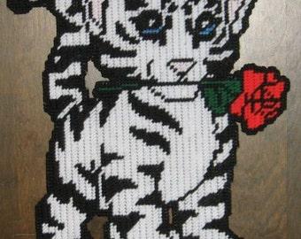 White Tiger Cub Plastic Canvas Pattern