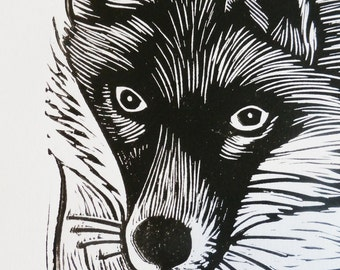 Fox, Original Linocut Print, Signed Limited Edition of 50,  Free Postage in UK, Hand Pulled, Printmaking,