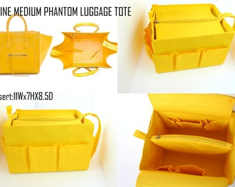 Purse organizer for Celine Medium Phantom Luggage tote with Zipper closure- Bag organizer insert in Yellow