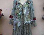 "20%OFF bohemian boho lagenlook gypsy mermaid stretchy knit jacket....work of art!! medium to 46"" bust...."