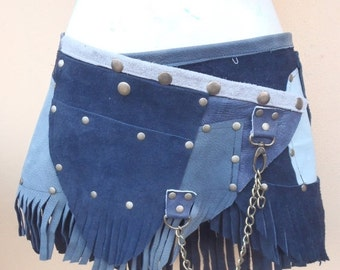 """20%OFF bohemian tribal gypsy fringed leather belt..28"""" to 36"""" waist or hips.."""