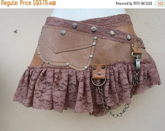 20%OFF Burning Man festival  steampunk bohemian gypsy leather skirt belt with dog clip & with pocket ...34'' to 42'' hips or waist...