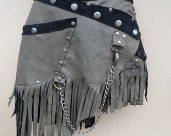 """20%OFF vintage inspired leather skirt with pocket and lace...42"""" to 50"""" waist or hips.."""