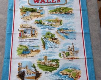 Souvenir Cotton Tea Towel Beauty Spots of WALES