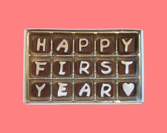 First Anniversary Boyfriend Gift 1st Anniversary Men Gift Husband Wife Couple BF GF Happy First Year Chocolate Letters Unique Romantic Funny