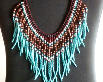 Native American beadweaving necklace in turquoise, teal, and copper