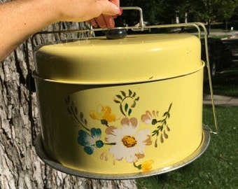 Vintage Metal Cake Carrier and Pie Keeper - Buttercream Yellow with Multicolor Bouquet of Flowers Metal Cake Safe or Cupcake Saver