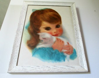 Framed Vintage Northern Tissue Little Girl Print by Frances Hook - Brunette Brown Eyed Little Girl with White Kitten - Ready for Hanging