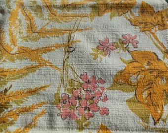 Flowers & Foilage Bark Cloth Fabric, Gold, Browns, Pink