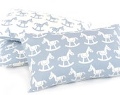 "Baby Rocking Horse Pillow Cover (12""x20""), Blue Lumbar Pillow, Reversible, Nursery Pillow, Animal Nursery, Baby Shower Gift"