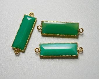 Green Chrysoprase Emerald Cut Gold Vermeil Connector, Green Chrysoprase Connector