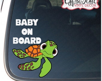 """Finding Nemo Squirt """"BABY ON BOARD"""" Vinyl Decal Sticker"""