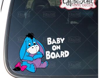 "Eeyore Baby ""BABY ON BOARD"" Vinyl Car Decal Sticker"