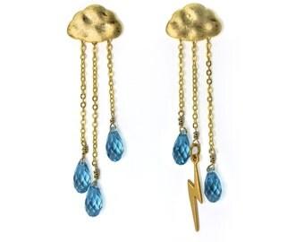Lightning Storm Earrings. English Rain Cloud Earrings. Storm Gemstone Jewelry. Chandelier cloud earrings in gold or silver