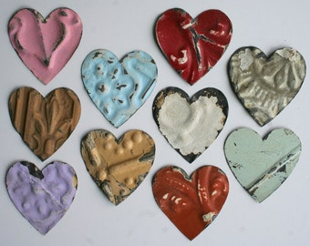 Ten Genuine Antique Ceiling Tin Heart Shapes -- For Bird Houses, Ornanments, Crafts, etc.