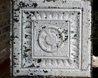"Genuine Antique Ceiling Tile -- 12"" x 12"" -- Crackled White Paint -- Pretty Design"