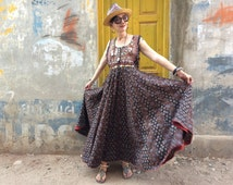 Long cotton dress , long boho dress , large  bohemian , casual summer dress , funky indian style , boho , indian maxi dress ,