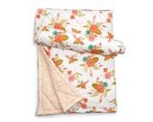 Floral baby blanket- IN FULL BLOOM- coral crib blanket - floral crib quilt - baby shower gift - modern baby quilt - floral crib bedding