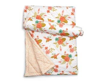 Floral baby blanket- IN FULL BLOOM- baby girl crib bedding- floral baby blanket- peach baby bedding
