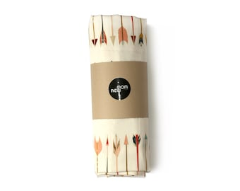 Tribal crib sheet ARROWS -tribal bedding- peach coral crib fitted sheet - changing pad cover- rustic baby bedding- peach arrows baby bedding
