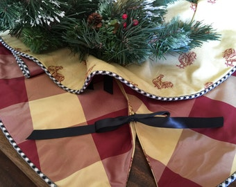 """FREE SHIPPING! Tabletop, Reversible Christmas Tree Skirt- Red/Yellow Silk, Yellow Rooster Cotton, Gingham welt- 36"""""""
