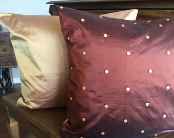 """Free Shipping- Pair Euro Pillow Shams-Dupioni Silk with button accent/Gold/Copper silk reverse- 24x24"""""""