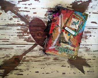 """Original Mixed Media Small Journal """"perfectly together"""" [80 lined pages]"""