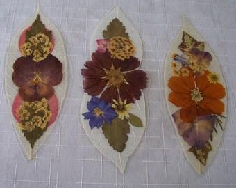 Pressed flowers on leaf skeletons book marks, set of 3. Set 043.