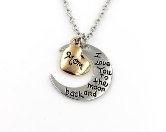 Stunning - I Love You to The Moon and Back MOM Necklace - Jewelery Holiday Gift Mom