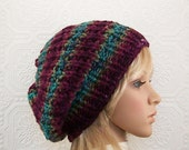 Hand knit hat - beanie slouchy hat women's accessories burgundy teal sage green knit reversible hat  Sandy Coastal Designs - ready to ship