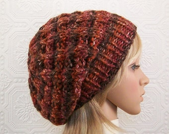 Hand knit beanie - brown rust - women's hat - Chunky Knit Slouch Hat Winter Fashion Winter Accessories Sandy Coastal Designs - ready to ship