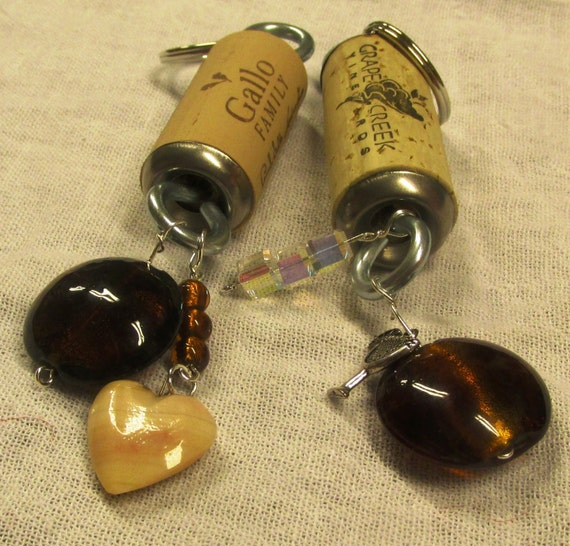 Cork Beads: Brown Bead Wine Bottle Cork Key Rings Chains By Peachiepockets