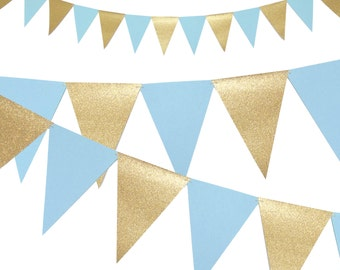 Boy Baby Shower Banner, Light Blue and Gold Party Decor, 6ft Photography Prop, Triangle Flag Bunting Banner