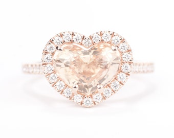 CERTIFIED - GIA Certified Heart Champagne Peach Sapphire & Diamond Halo Engagement Ring 18K Rose Gold