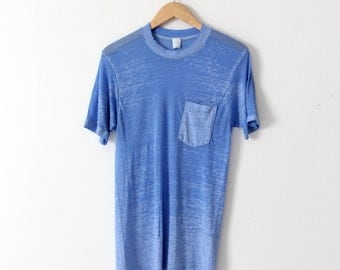 FREE SHIP  vintage thin t-shirt, blue Townscraft crew neck tee with pocket