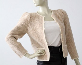 vintage boucle cardigan jacket, Jackie O style cardi blazer